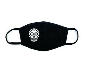 Face-Mask-Soft-Cotton-Unisex-Washable-Reusable-Scull-Badge-BLACK
