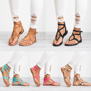 Details about Women Flip Flops Sandals Cross Strappy Flats Ladies Boho Lace Up Gladiator Shoes