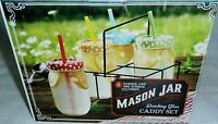 Mason Jar Drinking Glass Caddy Set 4 Glasses,lids And Straws Plus Caddy
