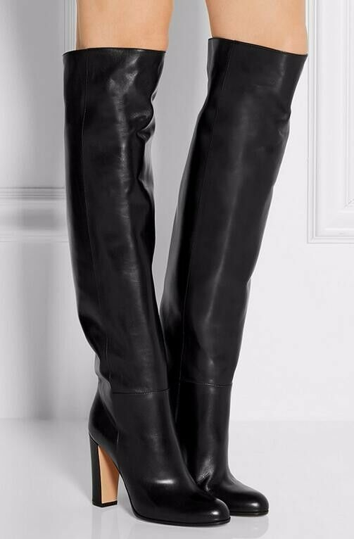 Women chunky heel 100% real genuine leather over knee high boots Party shoes New