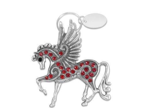 Personalizzato INCISO//PERSONALIZZATO Portachiavi /& Astuccio Regalo-Luccicante Pegasus-br286red