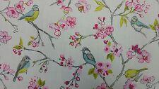 Clarke and Clarke Birdies Pink Designer Curtain Upholstery Craft Fabric