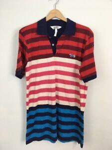 Retro-Fox-Mens-Striped-Polo-Shirt-Short-Sleeve-Size-M-red-blue-pink