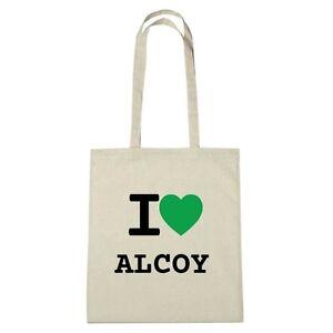 Umwelttasche - I love ALCOY - Jutebeutel Ökotasche - Farbe: natur