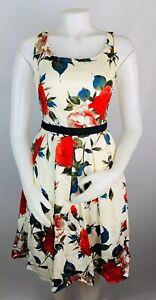 ModCloth-Frock-Shop-XS-para-Mujer-Vestido-de-una-linea-de-ajuste-de-la-llamarada-Floral-Retro