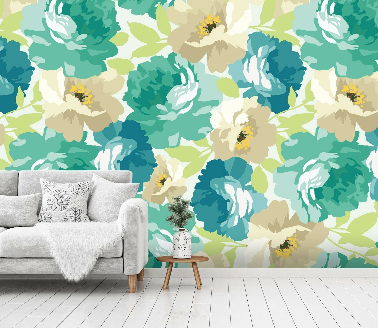 3D Green Peonies Flowers 4 Wall Paper Wall Print Decal Deco Indoor Wall Mural CA