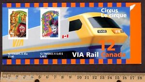 Canada-1998-Circus-Booklet-Scott-BK-210a-12-45c-Stamps-Opened-Booklet