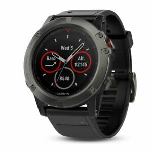 Garmin Fenix 5x Sapphire Slate Gray 51mm with Black Band - NEW