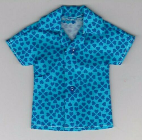 Homemade Doll Clothes-Blue on Blue Hearts Print Shirt fits Ken Doll B9