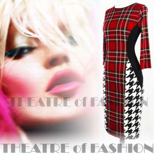 16 12 Movie Vamp Bodycon Art Pop Dress 14 50s Vintage anni Punk Diva Star '60 Tartan wY81t