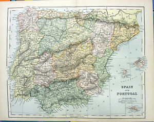 Map Of Spain To Color.Rare 1876 Color Engraving Spain Portugal Iberia Map Ebay