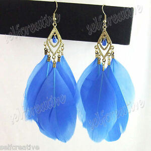 Blue-Multi-5-Feather-Gold-Metal-Hook-4-3-034-Long-Dangle-Extra-Chandelier-Earrings