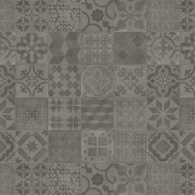 PVC Bodenbelag Retro Fliese Grau mit Textilrücken Almeria Smoke Tarkett 280T