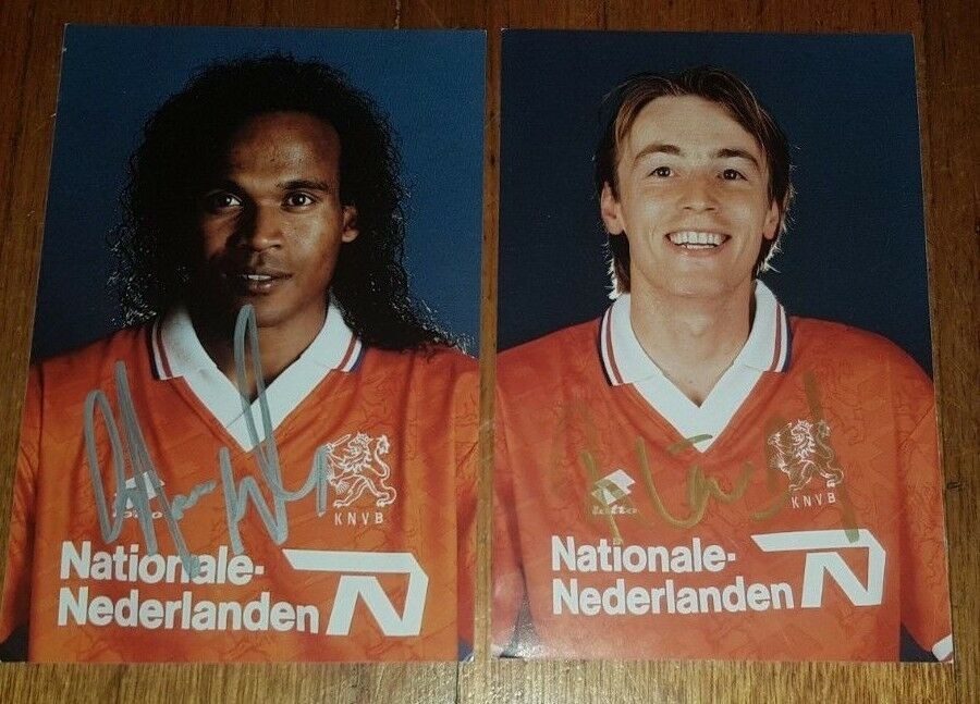 DUTCH FOOTBALL AUTOGRAPHS Gaston Taument & Richard Witschge HAND SIGNED Holland