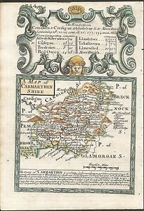 Antique-map-Carmarthenshire-Road-York-to-West-Chester-amp-Manchester-to-Darby