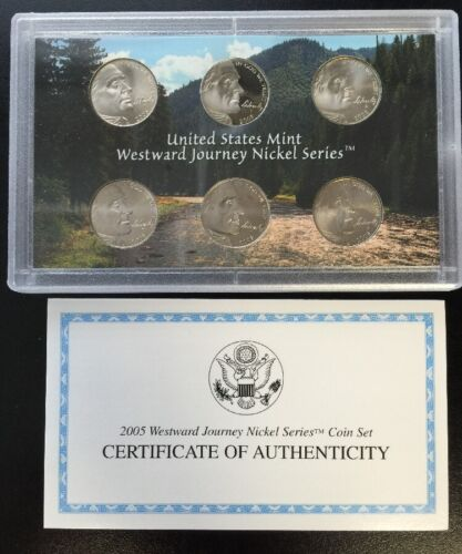 2005 U.S Mint//Proof Westward Journey Nickel Series Coin Set Complete Box /& COA