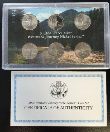 2005 U.S Mint//Proof Westward Journey Nickel Series Coin Set Complete Box /& COA