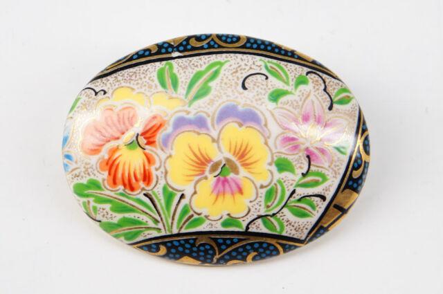 MINT Japan KUTANI Porcelain Kimono OBIDOME Flower Broach Free Ship 472k03