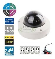 Hd Ahd 1080p 2.4mp Sony Cmos Vandal Proof Fixed 2.8mm Dome Camera 4-in-1 Bnc