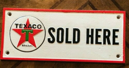 """TEXACO GAS STATION SOLD HERE Cast Iron Sign 9/"""" x 4/"""" ~Pump Plate~ Oil Gas Station"""