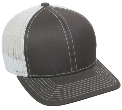 Classic 6 Panel Trucker Style Hat Platinum Series Meshback Structured