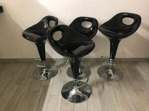 Dettagli su 4 Sgabelli da bar moderni set sgabello rotondo cucina regolabile sedia PVC nero