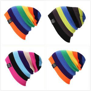 Men-Women-Wool-Knit-Knitted-Winter-Hat-Ski-Skull-Cap-Unisex-Rainbow-Hip-Hop-Hats