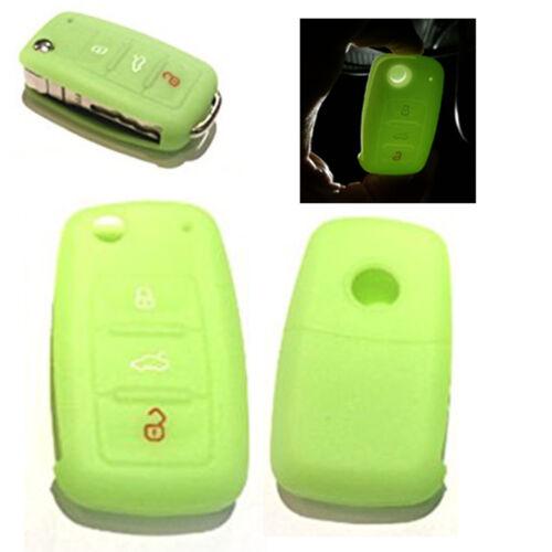 1x pour vw radio clé clés de voiture silicone Housse étui Housse Neon vert