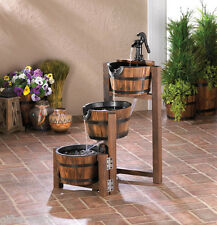 Country Wood Whiskey Wine 3 Tier Barrel Outdoor Patio Pond Plant Water  Fountain