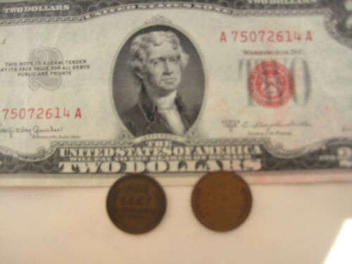 3=1+2 BIG SALE /& SO RARE 1 Red Seal US$2 Bill Paper 2 Old One Cent USA Coins!