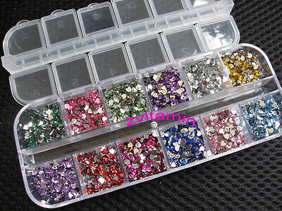 3600pcs Rhinestones Nail Art Case Assorted Designs for Acrylic Tips UV Gel Deco