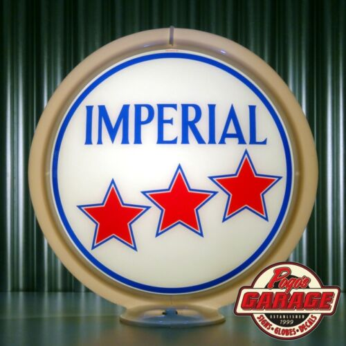 "Imperial Oil /""3 Star/"" Gasoline Made by Pogo/'s Garage 13.5/"" Gas Pump Globe"