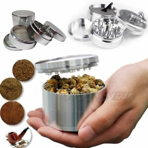 New-Men-Silver-Nice-4-piece-Metal-Hand-Muller-Herb-Spice-Tobacco-Grinder-Crusher