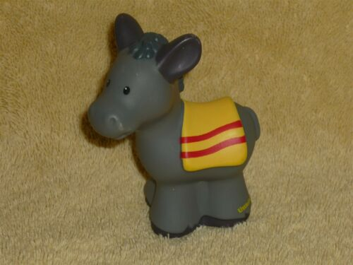 Fisher Price Little People Nativity Farm Gray Donkey with Yellow Blanket