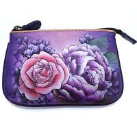 Anuschka Genuine Leather Hand Painted Medium Coin Purse Lush Lilac