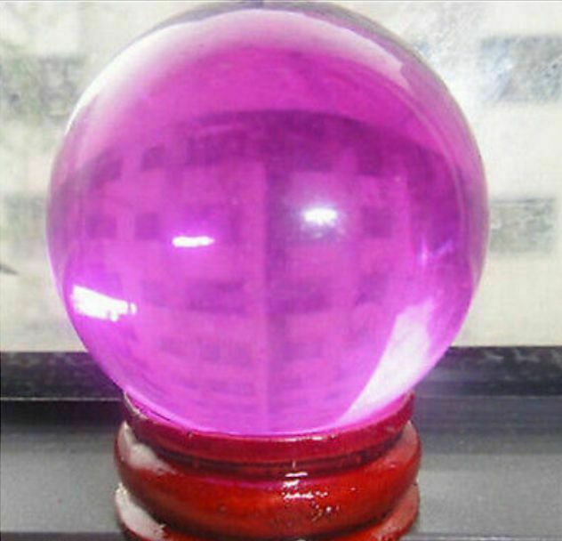 40mm+Stand Asian Rare Pink Magic Crystal Healing Ball Sphere