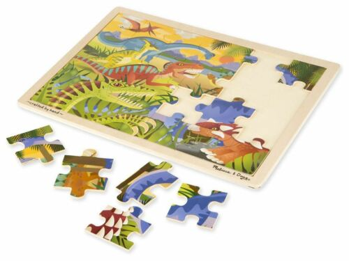 24 PC Pre-School Children Wooden Toys BN Melissa /& Doug DINOSAUR JIGSAW