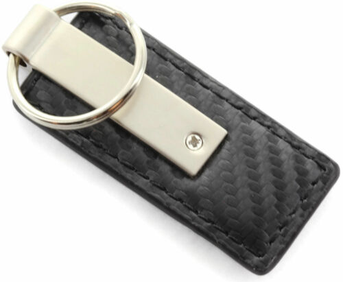 Honda Accord Black CF Carbon Fiber Leather Logo Key Chain Ring Tag Fob Lanyard