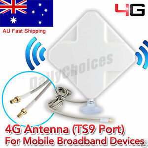 Details about 35dBi 3G 4G LTE Dual MIMO ANTENNA BOOSTER AERIAL TS9  plug&Cable Telstra Huawei Y