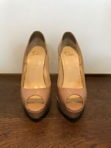 best value 5be80 1fca7 Details about Christian Louboutin Nude Patent Alta Nana Size 38.5 EU - WORN  ONCE for a wedding