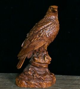 Collect Chinese fengshui Decor Boxwood handwork carved Eagle Statue figurine