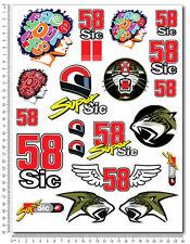 Marco Simoncelli 58 Super Sic aufkleber set 24x32cm blatt 20 stickers moto gp