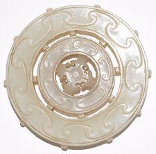 Antique Chinese 1800's RARE White Jade Hand Carved Bi-Disc Moving Prayer Wheel!