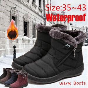 Winter-Women-Warm-Shoes-Snow-Boots-Fur-lined-Slip-On-Warm-Ankle-Shoes-Waterproof