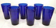 6 Libbey Cobalt Blue Glass Tall Tumbler Glasses