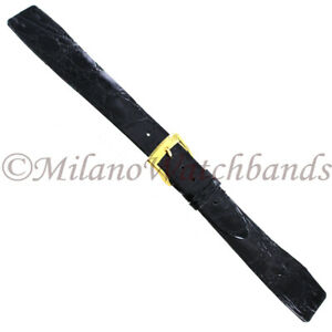 18mm-Milano-Black-Flat-Unstitched-Genuine-Crocodile-Open-Ended-Mens-Band-Regular