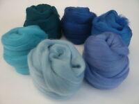 Heidifeathers Merino Wool Tops / Roving 6 Blue Shades - Felting Wool