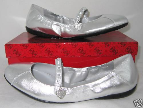 GUESS Ballerines shoes Mary Jane Cuir silveré 38.5