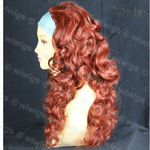 Wiwigs-Copper-Red-3-4-Fall-Long-Layered-Curly-Hairpiece-Half-Ladies-Wig