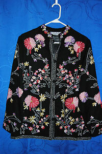 Womens-REAL-COMFORT-Black-Blazer-w-Floral-Embroidery-Size-M